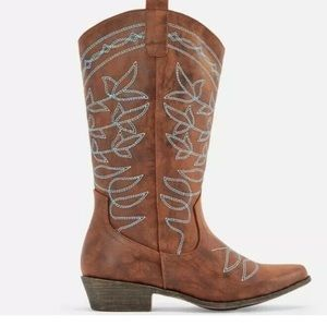 Jessie Embroidered Cowboy Boot Cognac Size 8.5 NWT